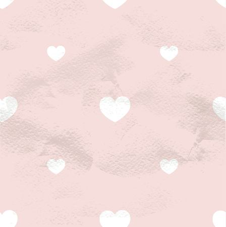 Pink seamless geometric vintage pattern from small white hearts Vector