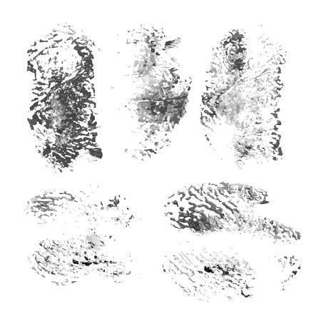 Black brush ink strokes paint isolated on white Vector
