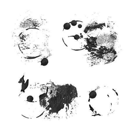 smears: Black prints and smears of thick paint on  white paper Illustration