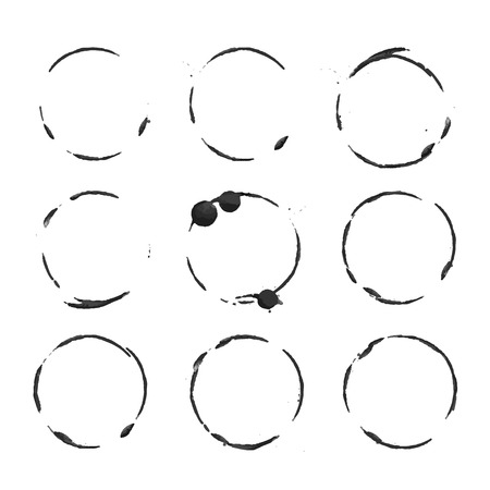 Vector black circles prints paint on white paper Illustration