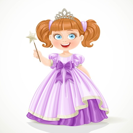 Cute little princess in purple dress and tiara holding magic wand isolated on white background Vectores