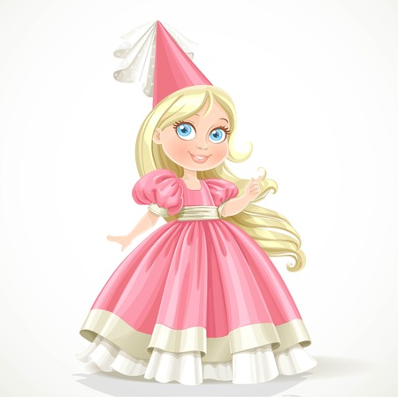 Little princess in a pink dress with long blond hair isolated on a white background