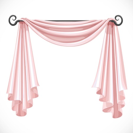 ledge: Pink curtains on the ledge forged isolated on a white background