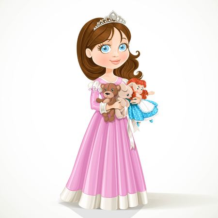 Beautiful little princess in tiara holding soft toys isolated on white background
