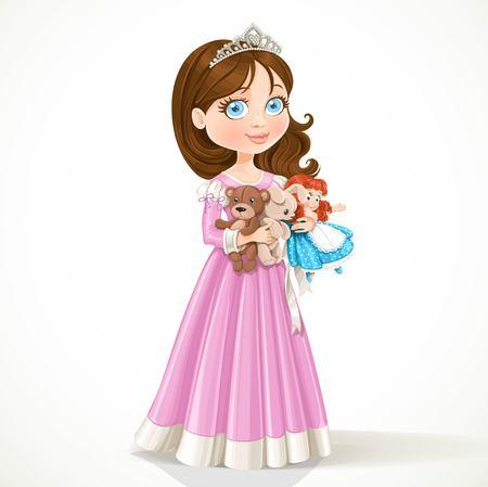 Mooie kleine prinses in tiara die zacht speelgoed geïsoleerd op witte achtergrond Stockfoto - 38370744