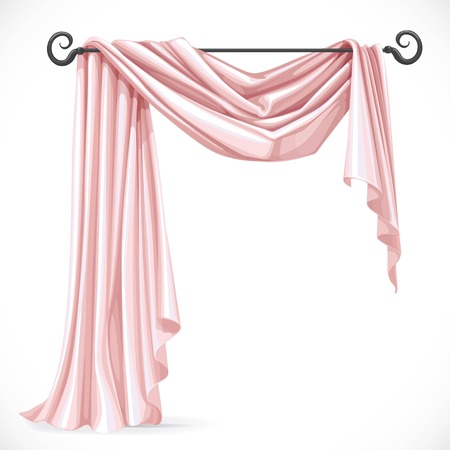 ledge: Pink asymmetric curtains on the ledge forged isolated on a white background Illustration