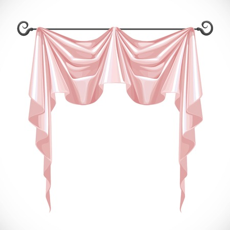 ledge: Pink curtains on the black ledge forged isolated on a white background Illustration