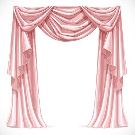 telon de teatro: Cortina rosa cubierto con lambrequines aislado en un fondo blanco
