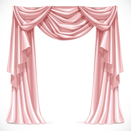 Pink curtain draped with lambrequins isolated on a white background