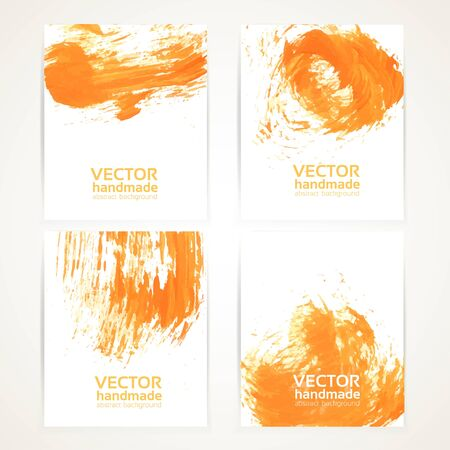 abstract oranje: Abstracte oranje borstel textuur handdrawing banner set 1