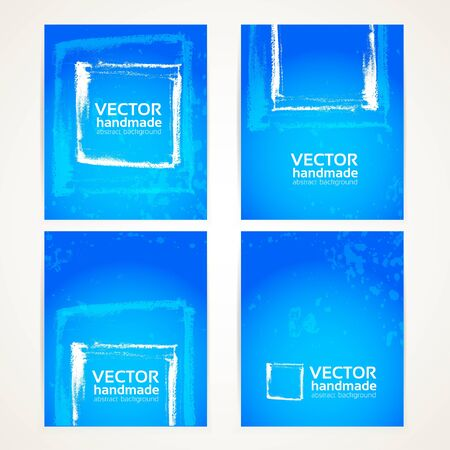 Abstract blue and white brush texture on banner set Vector