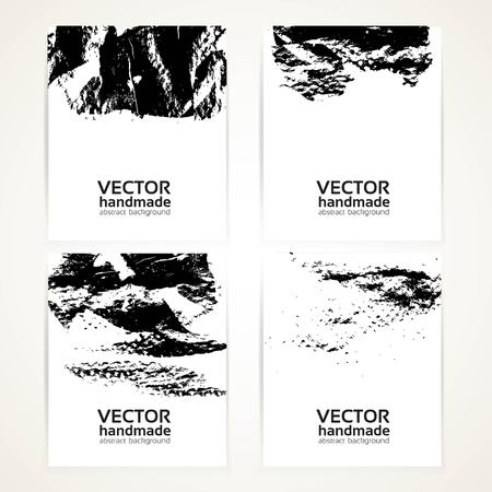 Abstract black and white brush texture prints banners set 1 Vector