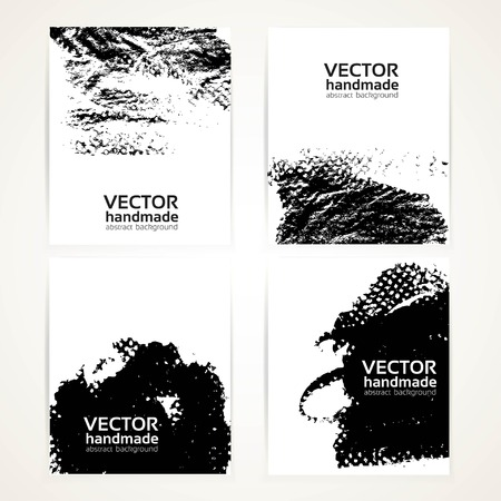 paper art: Abstract black and white brush texture prints banners set