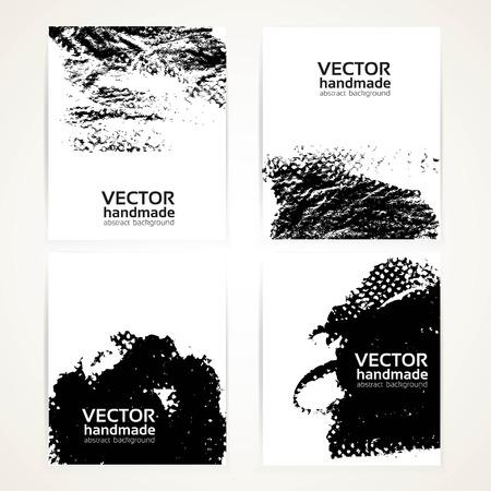 Abstracte zwart-wit penseel textuur prints spandoeken