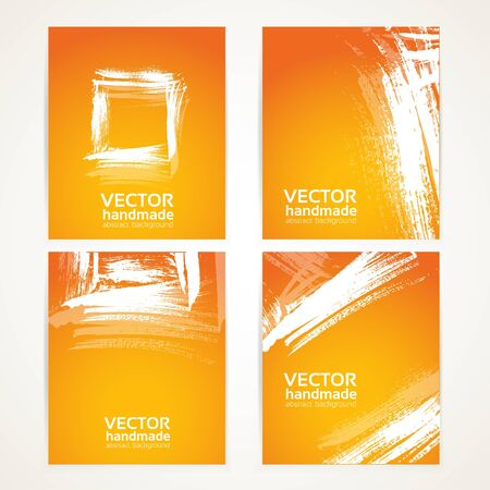 Abstract orange and white brush texture on banner set 1 Vector