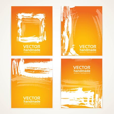 Abstract orange and white brush texture on  banner set Vector