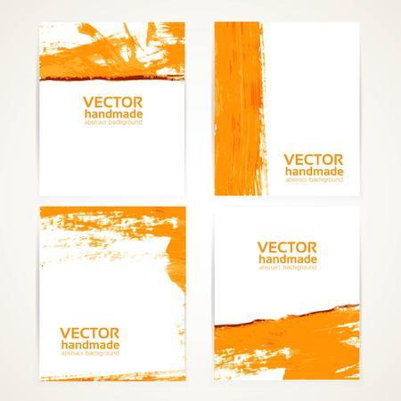 Abstract orange brush texture on banner set 1 Vector