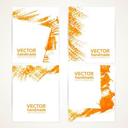 Abstract orange brush texture on banner set 2 Vector