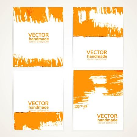 Abstract orange brush texture on banner set Vector