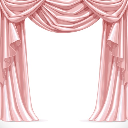 Big pink curtain draped with lambrequins isolated on a white background
