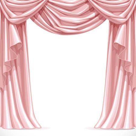 Grote roze gordijn gedrapeerd met volants geïsoleerd op een witte achtergrond