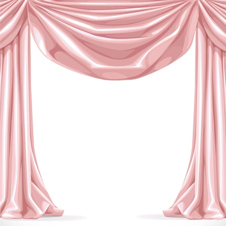 velvet rope: Big pink curtain isolated on a white background Illustration