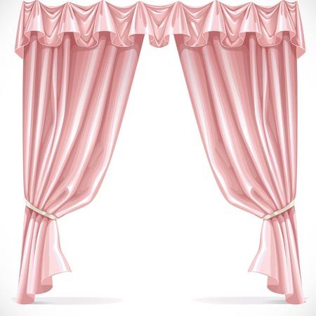 Rideau rose drapé avec bandeau isolé sur un fond blanc 1 Banque d'images - 38370905
