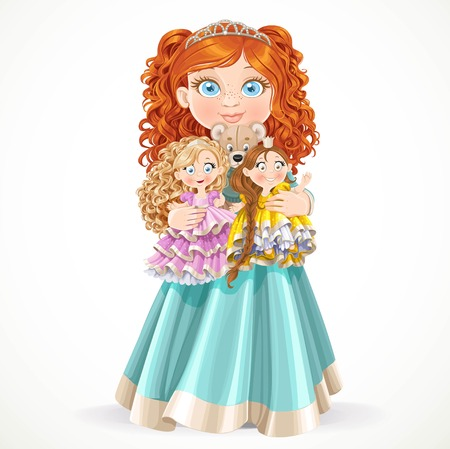 child girl nude: Cute little red-haired princess girl holding in arms dolls isolated on a white background