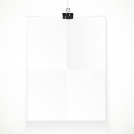 White paper hanging on binder isolated on a white background