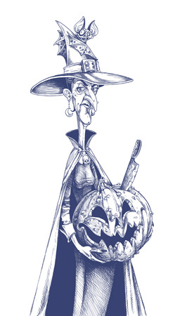 wicca: Thin witch holding carved pumpkin jack lantern and in her hat cling bat assistant