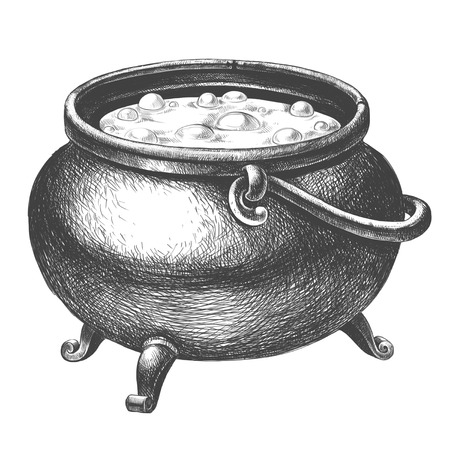 Witch cauldron with potion on a white background