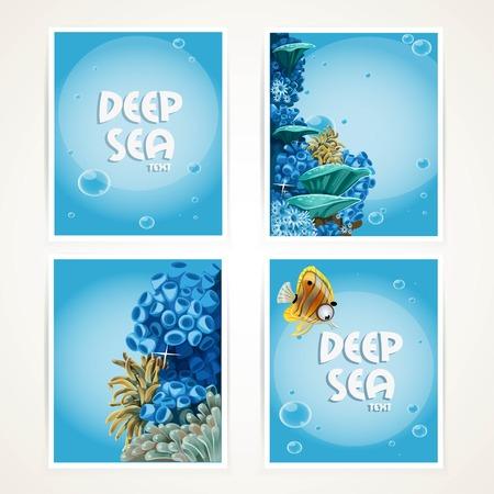 Blue deep sea banner set Ilustrace