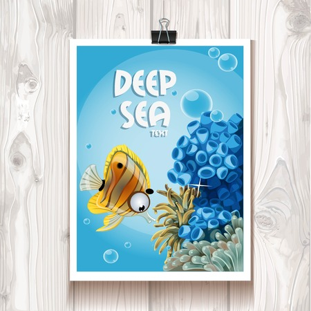 Poster with the deep sea anemones and fish in the binder on the background of wood texture Vector