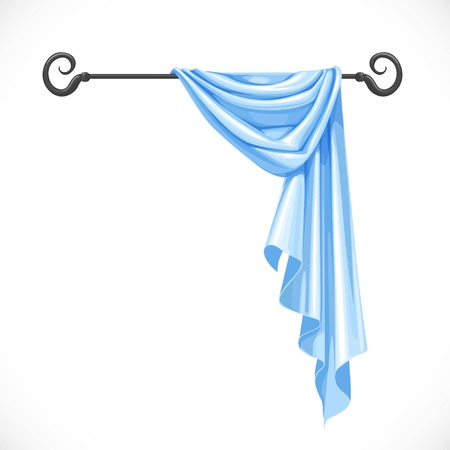 cornice: Blue drapery hanging on forged cornice isolated on a white background Illustration