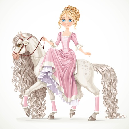 Cute princess on a white horse with a long mane isolated on a white background Vectores