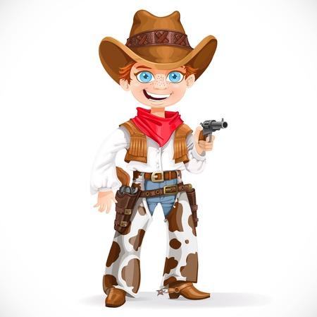 vaquero: Muchacho lindo vestido como un vaquero con revólver aislado en un fondo blanco