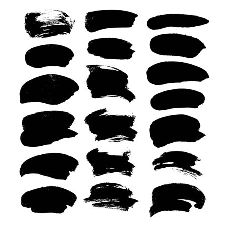black ink: Abstract black broad strokes of ink  isolated on a white background Illustration
