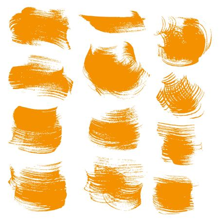 smears: Abstract orange gouache smears isolated on a white background