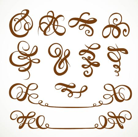 tattooing: Decorative calligraphic flourishes on a white background 1