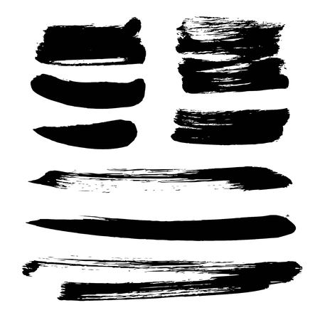 Abstract black vector strokes of ink on white background