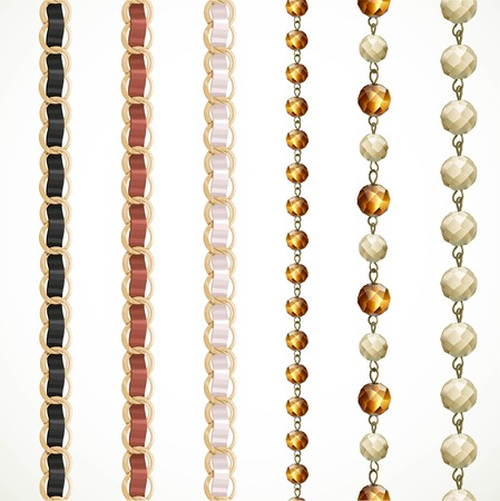Chain belt with variations of color and a chain of large glass beads isolated on white background