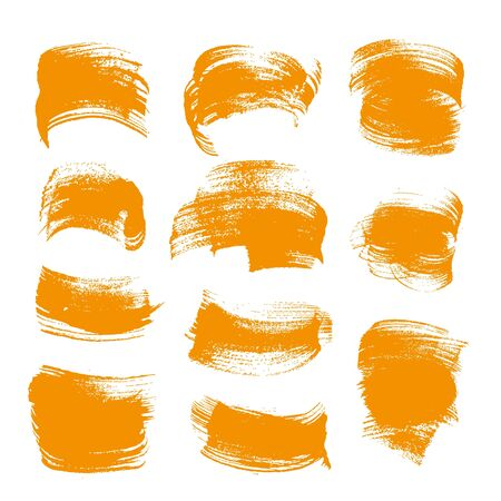 smears: Abstract orange gouache smears set isolated on a white background