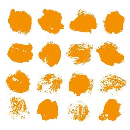 smears: Abstract orange gouache smears big set isolated on a white background