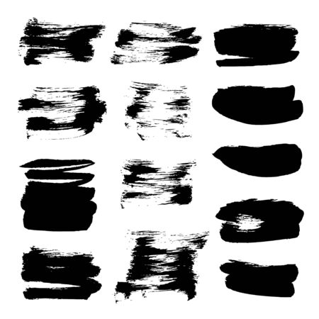 Abstract black vector strokes of ink on white background 1