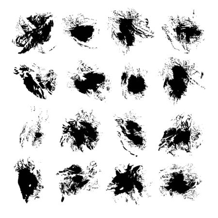 faded: Abstract black vector spots of ink on white background 2 Illustration