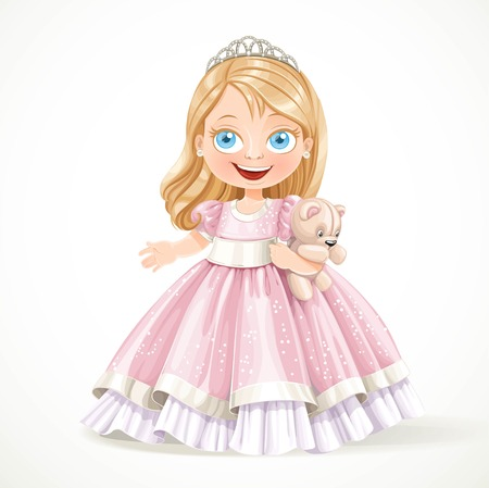 Cute little princess in magnificent pink dress with teddy bear isolated on a white background Vectores