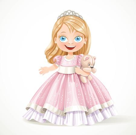 osos de peluche: Peque�a princesa linda en un magn�fico vestido rosa con el oso de peluche aislado en un fondo blanco