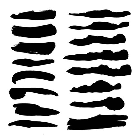 flowed: Abstract black flowed liquid ink smears set isolated on a white background Illustration
