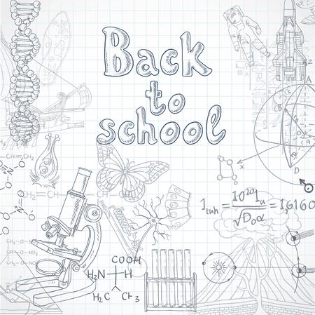 a solution tube: Back to school  squared paper sheet with doodles Illustration