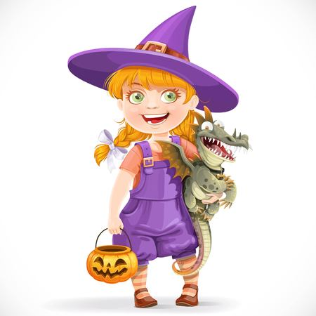 Cute little witch with a dragon under his arm and a pumpkin basket for sweets isolated on white background